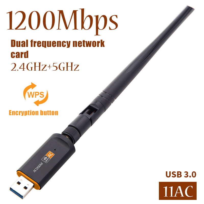 USB 3.0 1200Mbps Wifi Adapter Dual Band 5GHz 2.4Ghz 802.11AC Antenna Wifi Dongle Network Card NC99 image