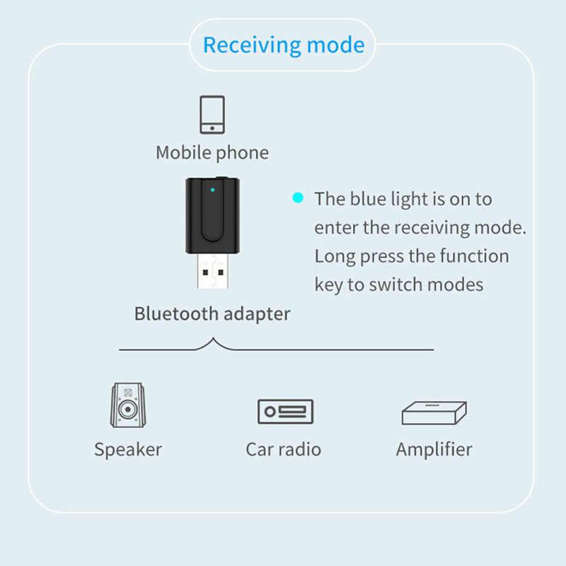 VIKEFON Bluetooth 5.0 Audio-ontvanger Zender 2In1 RCA 3.5mm AUX Jack Hifi Stereo USB Draadloze Adapter Voor TV PC auto Kit MP3