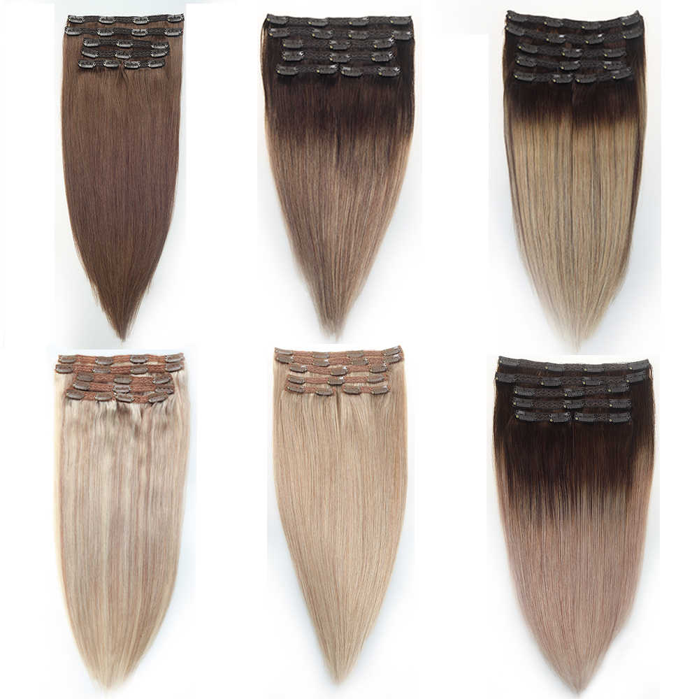 "Sindra Braziliaanse Haar Straight Clip In Human Hair Extensions Machine Gemaakt Remy 6 Stks/set Pure Piano Balayage Kleur 14"" -24"""
