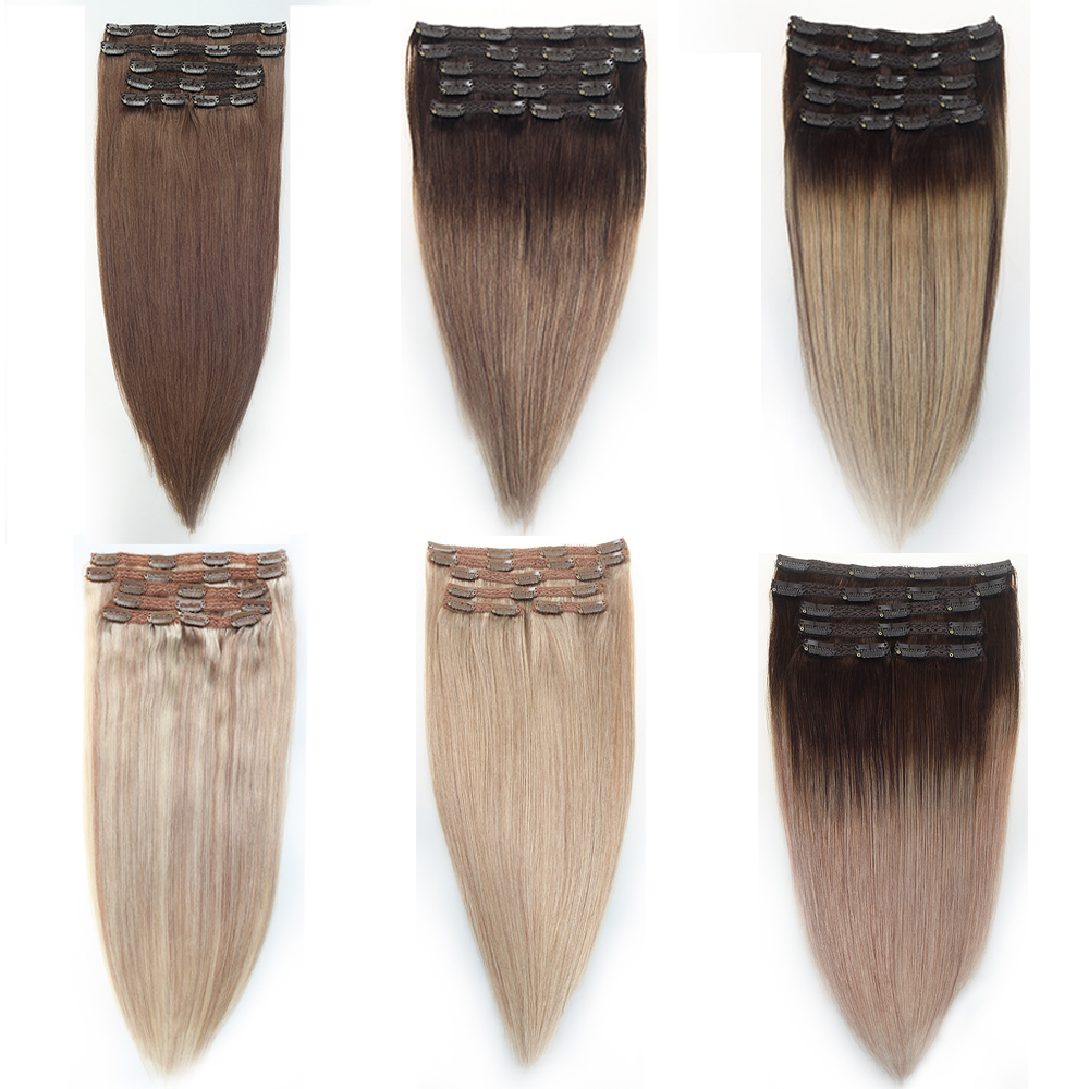 Sindra Brazilian Hair Straight Clip In Human Hair Extensions Machine Made Remy 6PCS/set Pure Piano Balayage Color 14