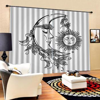Modern Home Decoration Living Room Curtains 3d Black and white depicting abstract sun moon this Customized size curtains