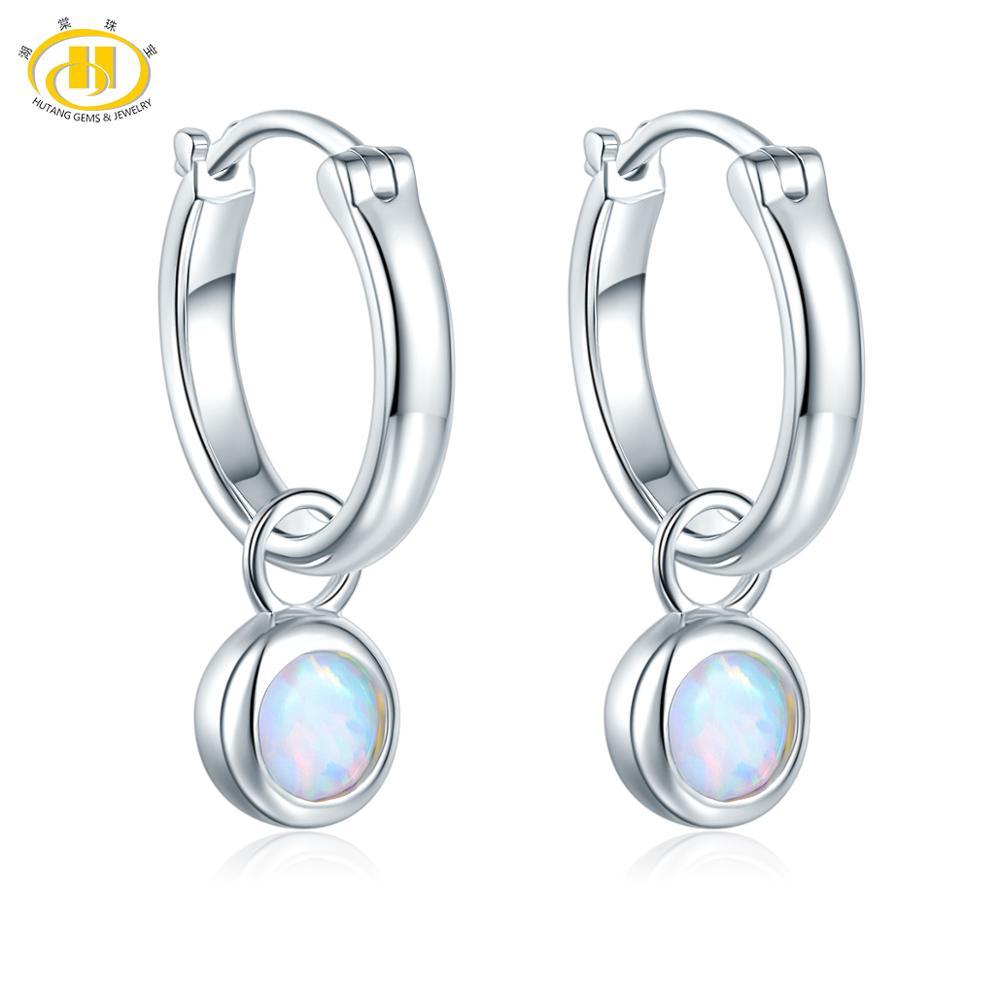 Hutang Silver Earrings 925 Jewelry Opal Gemstone Fine Clip Earrings for Women Sterling Silver Fine Elegant Classic Jewelry(China)