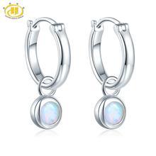Opaal Edelsteen Clip Oorbellen 925 Jewelrys Vrouwen Oorbel Ronde 5Mm Gemaakt Opal Multi Kleur Zilver Earring Classic stijl Geschenken