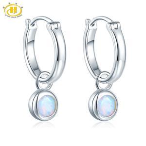 Image 1 - Pendientes de Clip de piedras preciosas de ópalo para mujer, joyas redondas de 5mm, pendientes de plata multicolor, regalos de estilo clásico 925