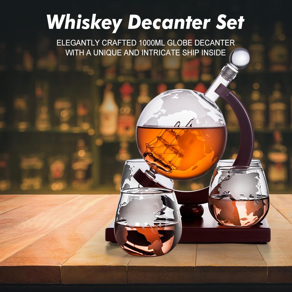 Whiskey Decanter Antique Ship Whiskey Dispenser For Liquor Bourbon Vodka Globe Decanter With Finished Wood Stand