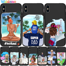 Fashion queen Paris girl Phone Case For iPhone 11 Pro Max XS XR X 8 6S 7Plus 5S Black Soft Silicone phone case Cover Etui