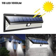 1000 Lumens Waterproof Solar Outdoor Wall Light 3W 118 LED PIR Motion Sensor Solar Powered Sunlight For Garden Decoration