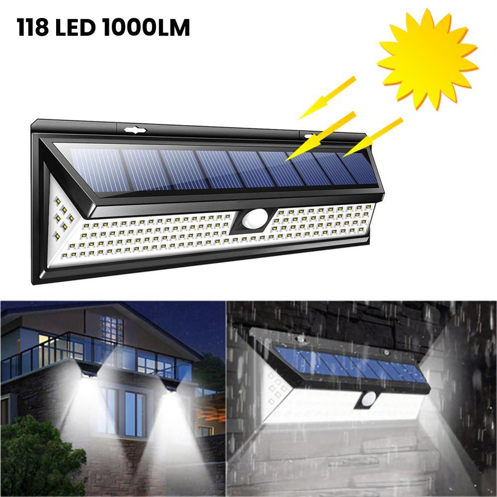 1000 lúmenes impermeable luz Solar de pared al aire libre 3W 118 LED PIR Sensor de movimiento luz Solar alimentada para la decoración del jardín