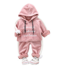 Toddlers Winter Girls Baby Boys Kids Clothing Suit Children Thick Warm Hooded Pants 2Pcs/Sets Children Plus Velvet Tracksuit kid clothes sets children winter autumn tracksuit thick jacket hoodie pants for boys girls warm suit set in stock