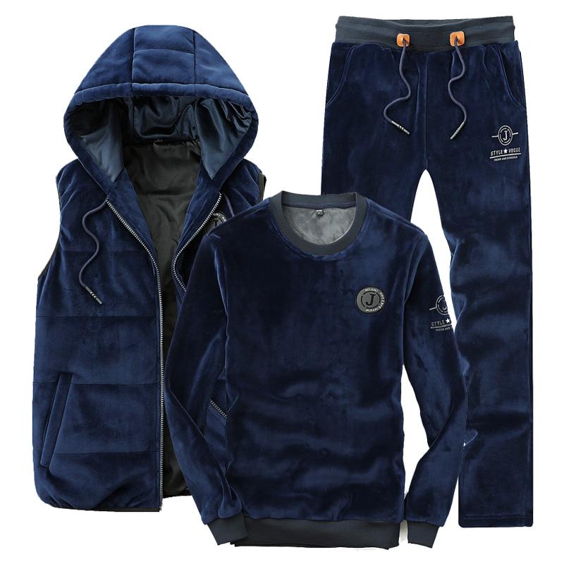 Sportswear Men Sports Suit 3 Piece Set Men 2019 Spring Autumn Kangaroo Pocket Hoodies + Pant + Vest Gold Velvet Male Tracksuit