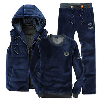 Sportswear Men Sports Suit 3 Piece Set Men 2019 Spring Autumn Kangaroo Pocket Hoodies + Pant + Vest Gold Velvet Male Tracksuit - DISCOUNT ITEM  35% OFF All Category