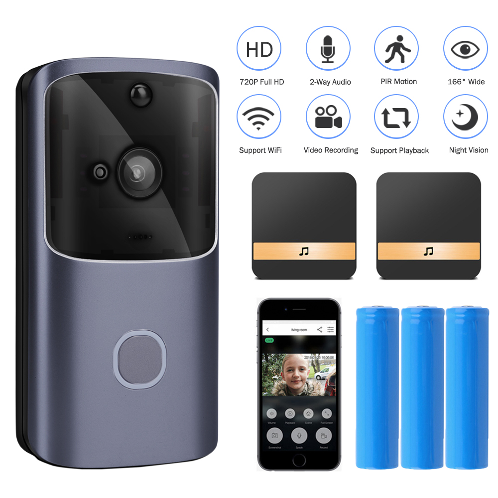 HISMAHO WIFI Doorbell Video Door Intercom 720P HD Wireless Smart Home IP Door Bell Camera Security Alarm IR Night Vision title=