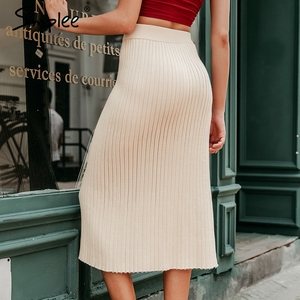 Image 3 - Simplee Autumn knitted women skirts Vintage A line buttons solid midi skirts Elegant ladies bodycon stretch pencil office skirts