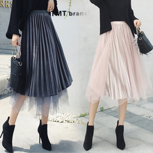 Women Fashion Skirts 2019 Summer Temperament Pleated Skirt Korean Ladies High Waist Pleated School Skirt Female drawstring waist pleated skirt