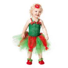 Платье-пачка из тюля красного и зеленого цвета для маленьких девочек, комплект с повязкой на голову с цветком, Рождественский костюм, 40JF