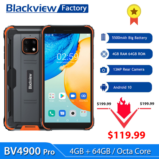 Blackview BV4900 Pro Smartphone 4GB+64GB 5580mAh IP68 Waterproof Android 10 Mobile Phone 5.7'' NFC Cellphones 1