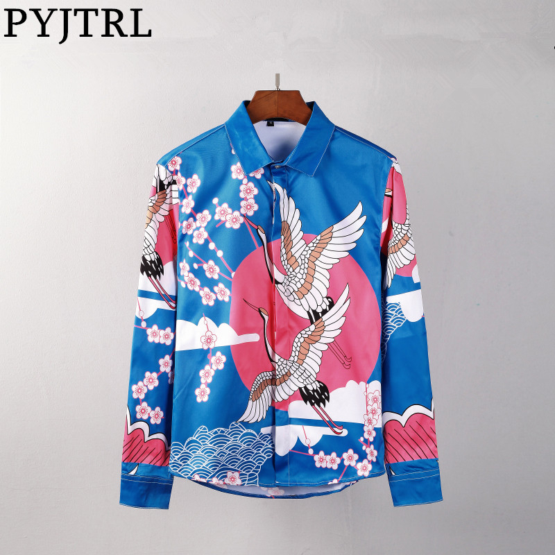 PYJTRL Men 3D Floral Print Long Sleeve Shirts Palace  Hipster Luxury Dress Shirts Chemise Homme Clothes Camisa Masculina
