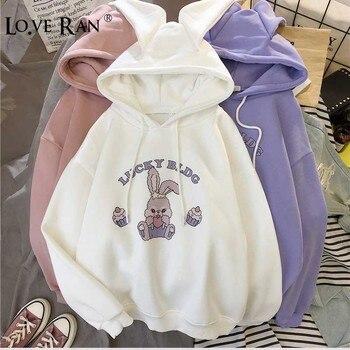 Cartoon Ear Rabbit Print Fleece Womens Hoodies Girls Hooded Long Sleeve Female Sweatshirts 2020 Winter Cute Ladies Sweatshirt