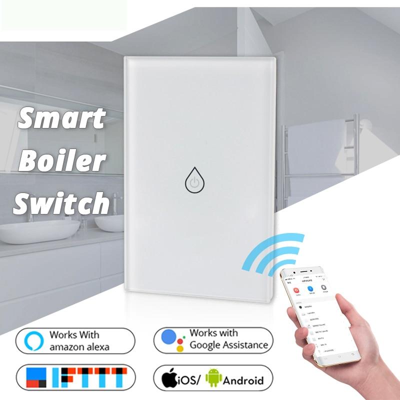 WiFi Smart Boiler Switch Water Heater Smart Life Tuya APP Remote Control Amazon Alexa Google IFTTT Voice Control Glass Panel
