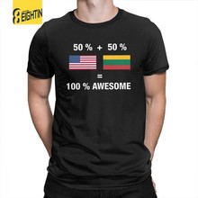 Half Lithuanian Half American 100% Lithuania Flag T Shirt Crewneck Tops Tees 100% Cotton Short Sleeves T-Shirts Normal Man Crazy(China)