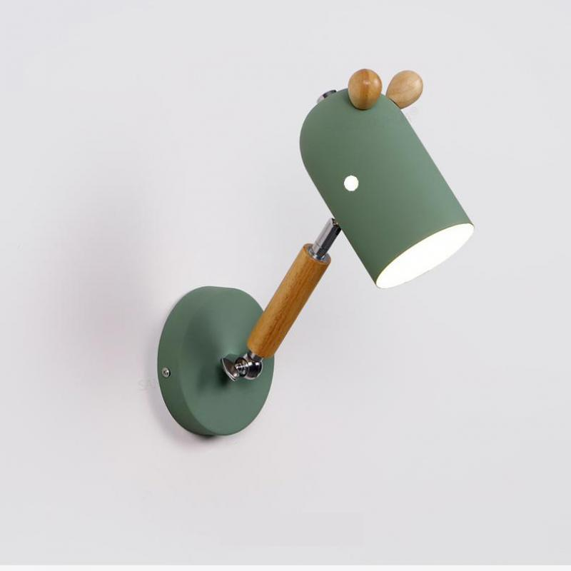 <font><b>Nordic</b></font> <font><b>Wall</b></font> lights Cartoon Children's Room Bedside <font><b>Lamp</b></font> Modern Simple Wooden Rotatable Aisle Wooden Bedroom <font><b>Lamp</b></font> image