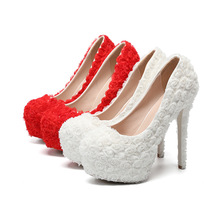 3D Rose Floral Lace Wedding Shoes High Heel 14CM Platform Heels Red Bridal Shoes Princess Pump Platform Shoes Women Bridal Pumps enzo angiolini women s dixy3 platform pump