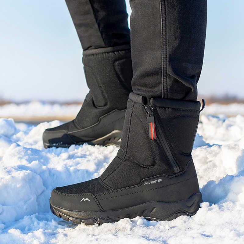 גברים מגפי 2019 חורף נעלי גברים שלג מגפיים עמיד למים החלקה עבה פרווה חורף מגפי-40 מעלות