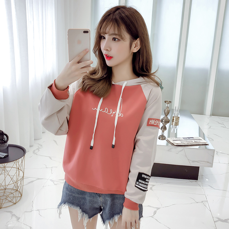 Hooded pullover girls autumn clothes Korean version of loose casual 2019 new student letter print women's sweatshirt 37