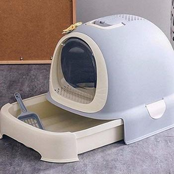 Enclosed Cat Litter Box with Lid Hooded Cats Sandbox Litter Toilet Trendy Covered Pet Bedpans with Litter Scoop фото