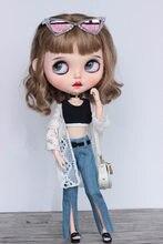 Bjddoll adequado para blythes ob24 tamanho roupas de boneca sexy denim queimado calças antes do vento split jeans boneca acessórios