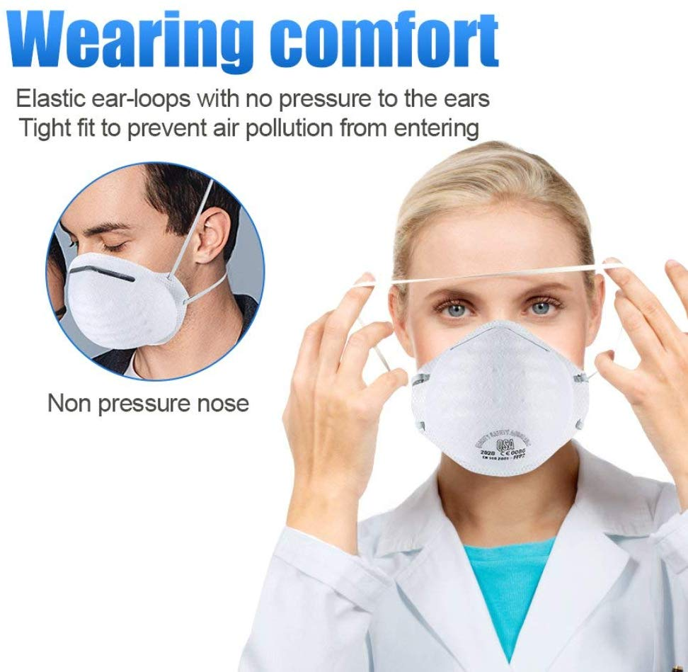 20PCS High-level European Standard N95 Mask FFP2 Mask Professional Mask Effective Anti-virus Mask Anti-bacterial Mask N95 Mask