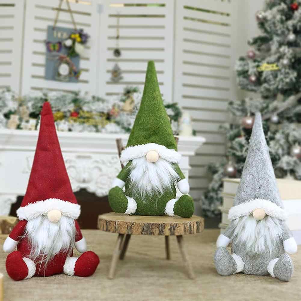 2020 Navidad muñeco sin rostro ornamento tierra nórdica Dios Santa Claus felpa sentado muñeca Año Nuevo Hogar ventana Mesa Decoración