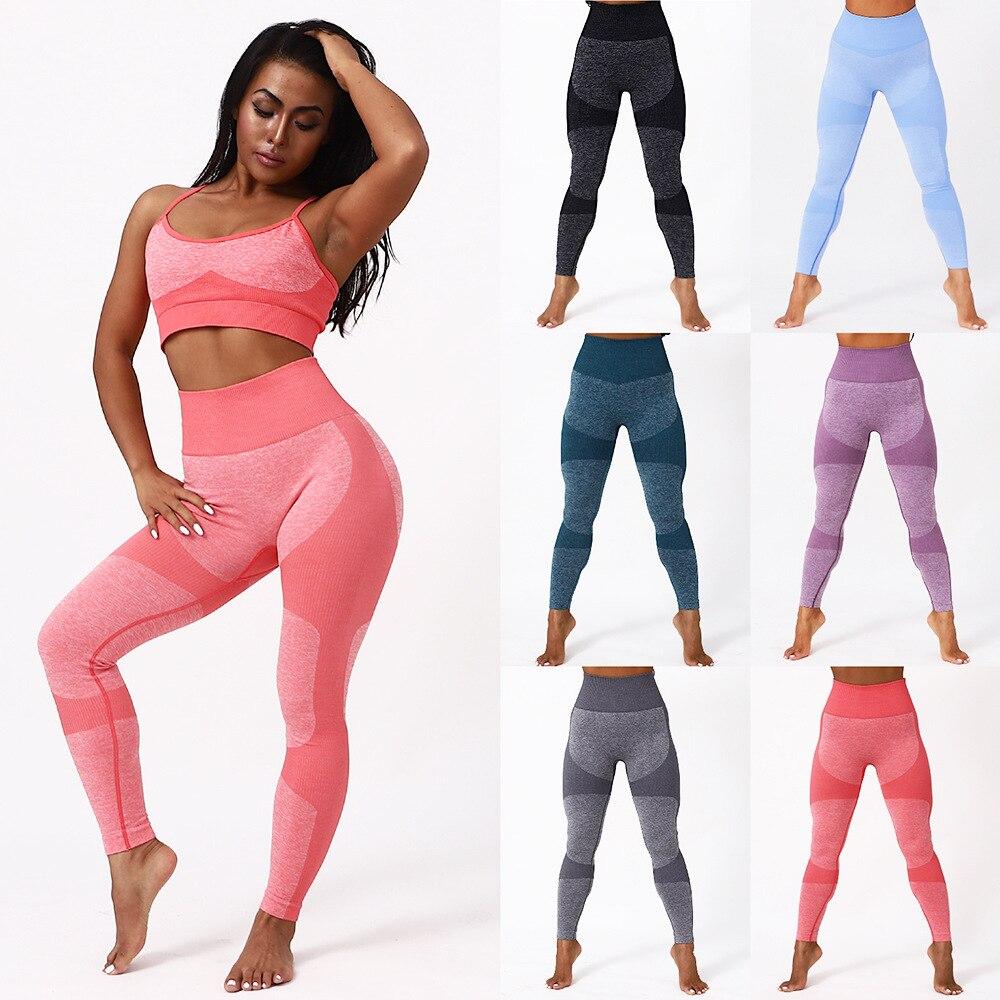 Женские эластичные леггинсы с высокой талией, персиковые леггинсы для спортзала, быстросохнущие спортивные эластичные штаны для фитнеса, л...