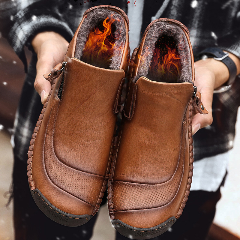 Winter New Men Keep Shoes High Quality Men's Leather Shoes Ankle Boots Man Snow Boots Comfortable Moccasins Shoes Big Size 48