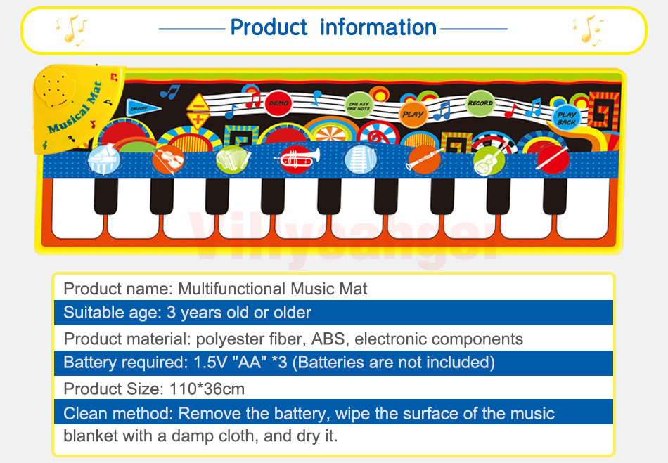 Hcd04c3782a4c462f951cc2a5635685ecu 110x36cm Musical Piano Mat Baby Play Mat Toy Musical Instrument Mat Game Carpet Music Toys Educational Toys for Kids Xmas Gift