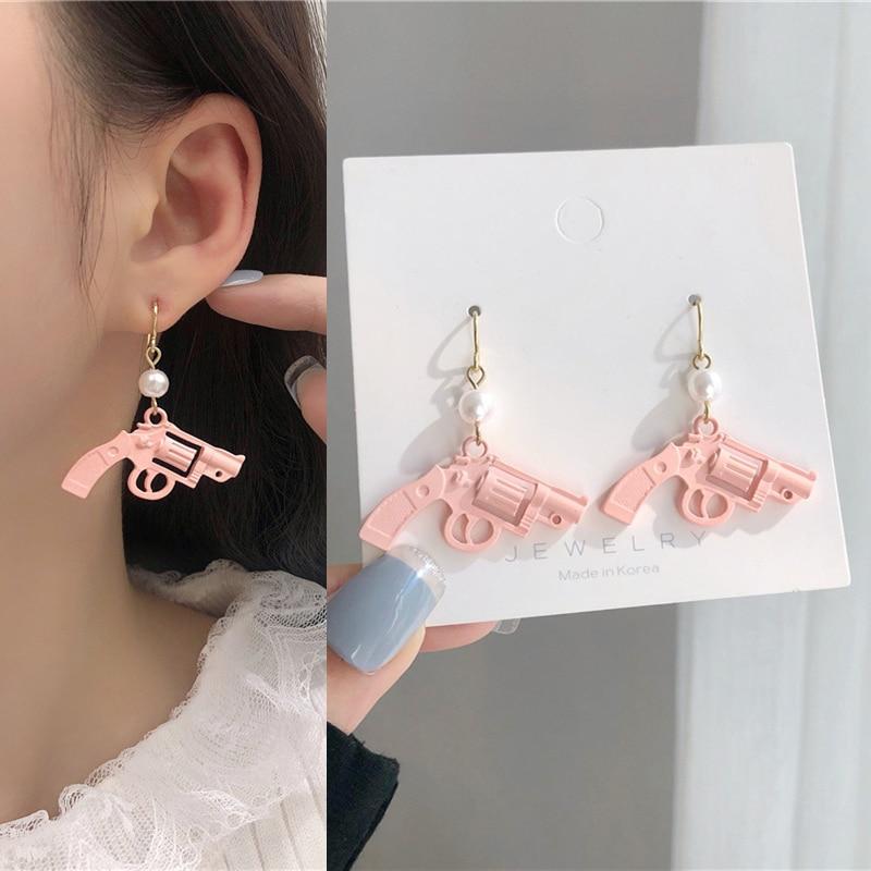Cute Pearl Inlaid Pink Revolver Drop Earrings Funny Handarm Gun Earrings for Women Girls Ear Jewelry Gift 2021 New Arrival Trend