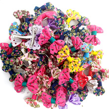 New 50pcs Mix Various Styles Dog Topknot Bows Pet Hair Clips Nice Butterfly Dog Hair Accessories Pet Grooming Product Cute Gift