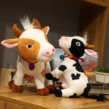 1pc28-35CM Cute Cattle Plush Toys kawaii Simulation Milk Cow Doll Stuffed Soft Pillow For Children Kids Birthday Gifts
