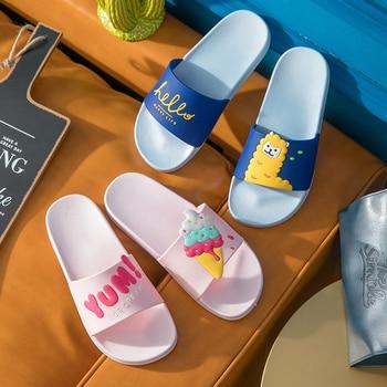 Dessin animé fruits femmes pantoufles pastèque banane maison pantoufles été sandales diapositives femmes chaussures tongs Sandalias Mujer