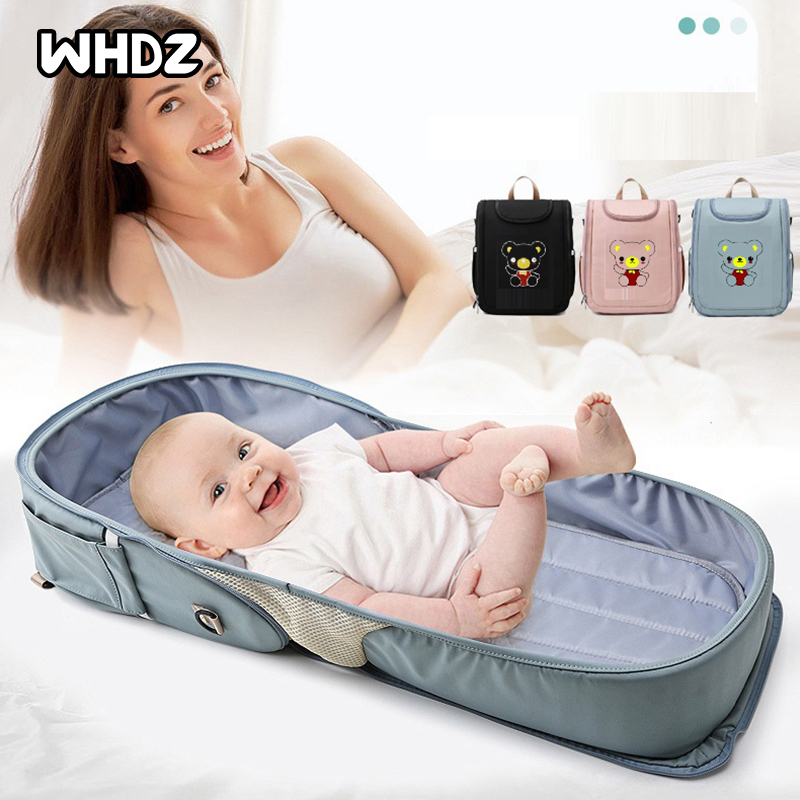 Multi-function Diaper Backpack Foldable Stroller Nappy Maternity Bag Large Capacity Travel Outdoor Baby Nursing Bed Mummy Crib