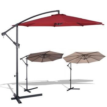 Giantex 10' Patio Outdoor Sunshade Hanging Umbrella Stainless Steel Umbrellas Beach OP2808
