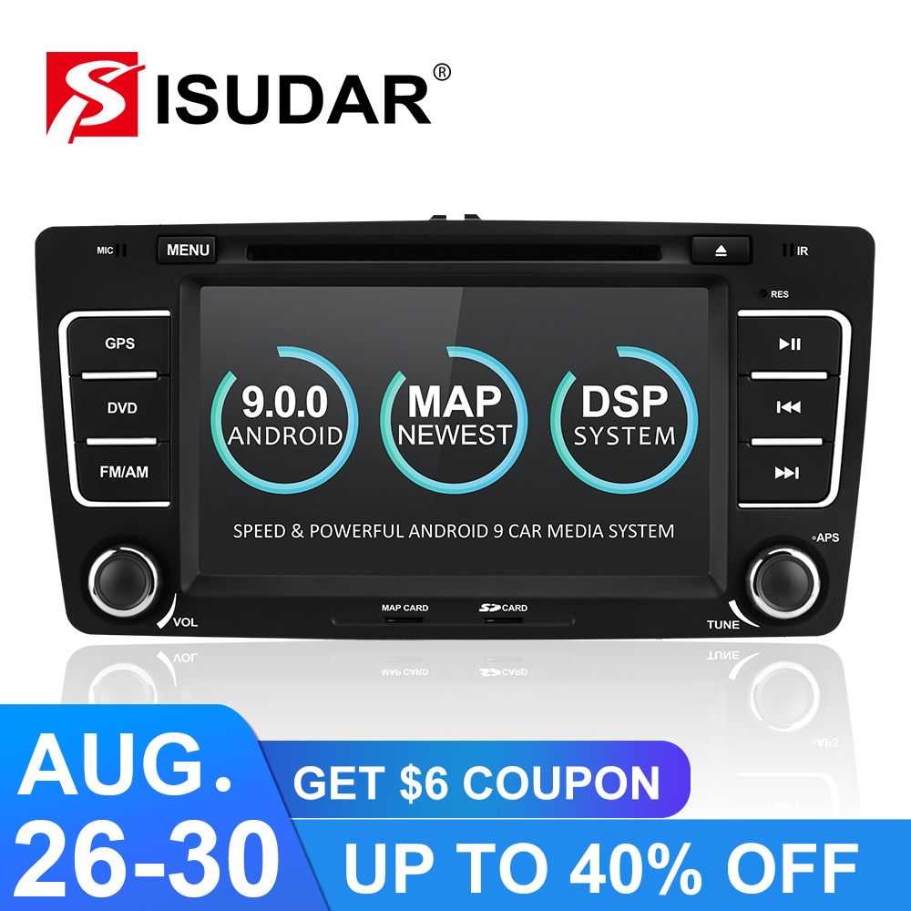 Isudar 2 Din Auto Radio Android 9 For SKODA/Yeti/Octavia 2009 2010 2012 Quad Core RAM 2G Car Multimedia Video DVD Player GPS DVR Toyota Land Cruiser