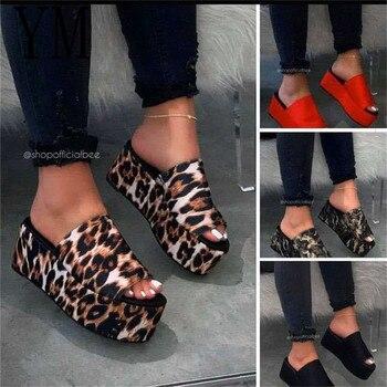Лидер продаж Летние босоножки женские туфли на танкетке Туфли-лодочки босоножки на высоком каблуке; Вьетнамки без застежки; Chaussures Femme; Босон...