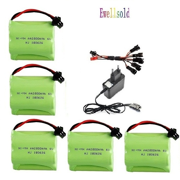 6v 2800mah AA NI-MH Battery With Charger High Capacity Electric Toy Battery Remote Car Ship Robot Rechargeable 6 V 2800 Mah
