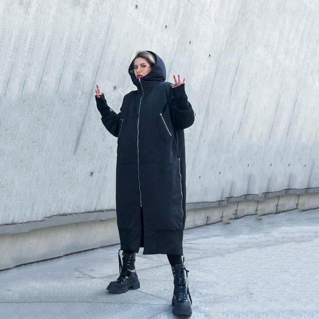 [EAM] Black Big Size Hooded Cotton-padded Coat Long Sleeve Loose Fit Women Parkas Fashion Tide New Autumn Winter 2019 1H886 36
