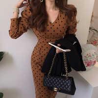 YAMDI midi dress women casual v neck bodycon chic polka dot runway elegant long sleeve high waist spring autumn pencil dress new