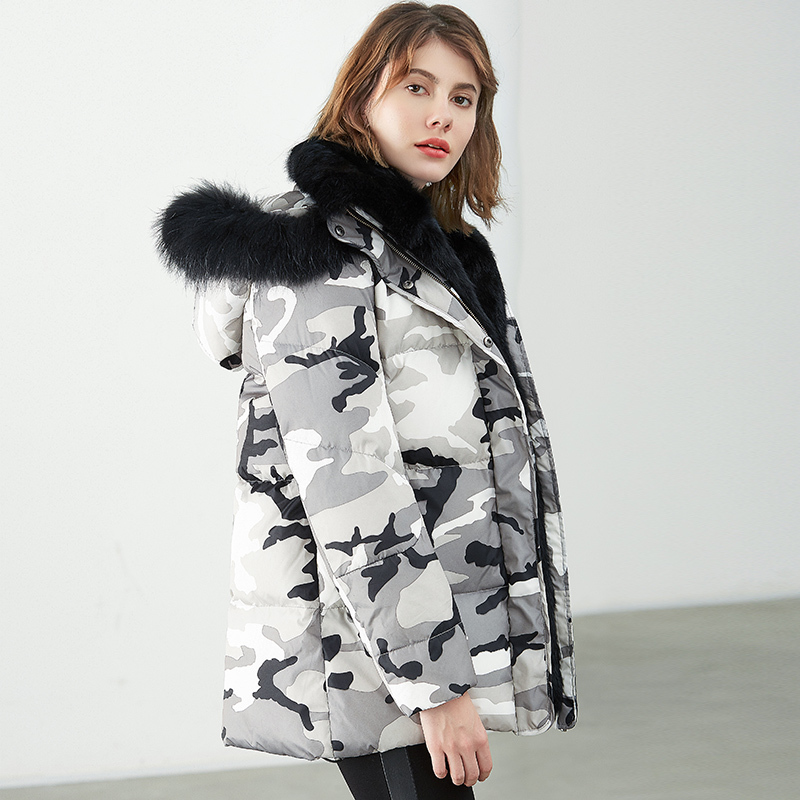 2020 Women Winter Duck Down Jacket Coat Luxury Rabbit Fur Liner Female Camouflage Long Parkas Raccon Fur Plus Size 3XL