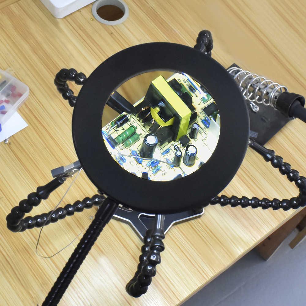 NEWACALOX, 3X/5X, 3 colores, lupa iluminada, fuerte Base magnética, Flexible, lupa LED, lámpara para lectura, Trabajos de soldadura
