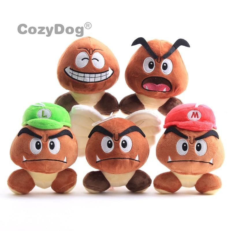 5 Pcs Lot Mario Poisonous Mushrooms Plush Toys Doll Japan Cartoon