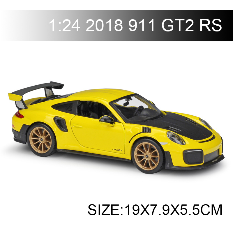 Maisto 1 24 2018 911 GT2 RS Yellow Diecast Car Model Toy Vehicle Car Model Models